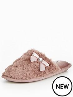 v-by-very-snowy-heart-print-fur-mule-slipper-mink