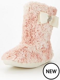 v-by-very-koko-curly-fur-bow-detail-bootie-pink