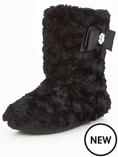 v-by-very-koko-curly-fur-bow-detail-bootie-black