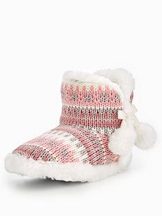 v-by-very-binky-metallic-knitted-pom-pom-bootienbsp--pink