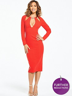 myleene-klass-metallic-neck-fitted-pencil-dress-orange