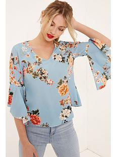 girls-on-film-floral-flute-sleeve-blouse