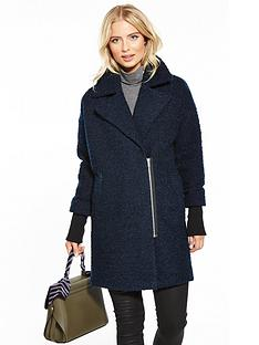 v-by-very-ribbed-sleeve-boucleacutenbspcoat--nbspnavy