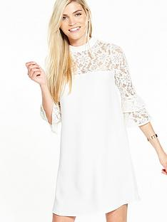 v-by-very-frill-sleeve-lace-insert-tunic-dress-ivory
