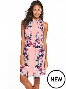 oasis-leaf-amp-rose-ruched-neck-dress