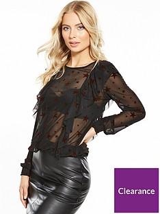 v-by-very-velvet-star-mesh-ruffled-blouse-black