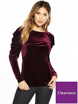 v-by-very-pleat-sleeve-velvet-top