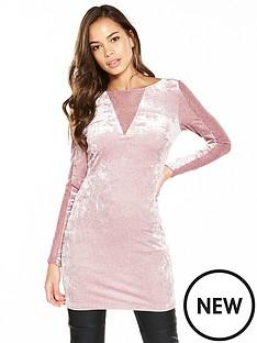 v-by-very-lace-panel-velvet-tunic