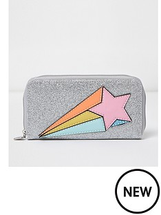 river-island-river-island-girls-large-ziparound-glitter-shooting-star-purse