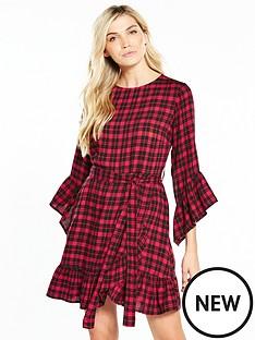 v-by-very-check-frill-wrap-dress-red-check