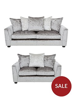 glitz-3-seater-2-seater-fabric-scatter-back-sofa-set-greysilver-blackpewternbspbuy-and-save
