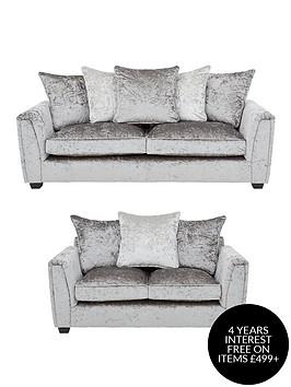 glitz-3-seater-2-seater-fabric-scatter-back-sofa-set-greysilver-blackpewternbspbuy-and-save