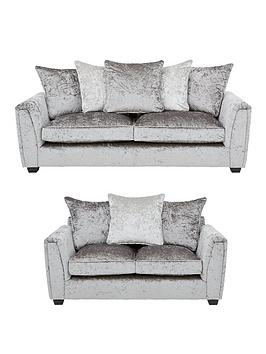 Very Glitz 3 Seater + 2 Seater Fabric Scatter Back Sofa Set - Grey/Silver,  ... Picture