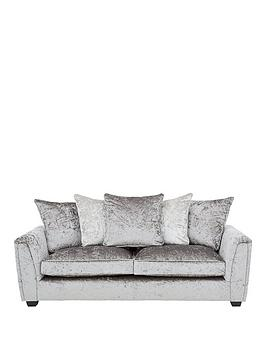 Very Glitz 3 Seater Fabric Scatter Back Sofa - Grey/Silver Or Black/Pewter Picture