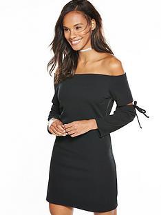 v-by-very-tie-sleeve-crepe-bardot-dress-black