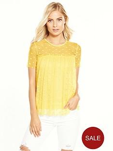 v-by-very-polka-dot-mesh-top-yellow
