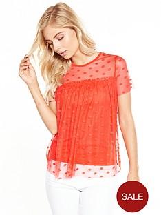 v-by-very-polka-dot-mesh-top-burnt-orange