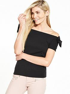 v-by-very-bow-bardot-crepe-top-black