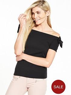 v-by-very-bow-bardot-crepe-top-black