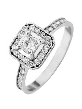 Love Diamond 9Ct White Gold 60 Point Diamond Princess Cut Centre Halo Engagement Ring