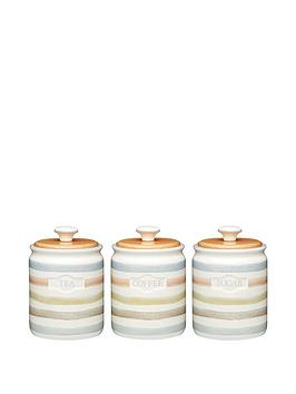 Kitchen Craft Classic Collection TeaCoffee Sugar Ceramic Storage Jars Set Of 3
