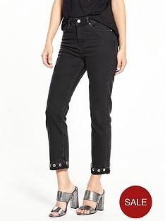 miss-selfridge-eyelet-straight-leg-jeans