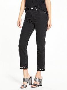 miss-selfridge-eyelet-straight-leg-trouser-black