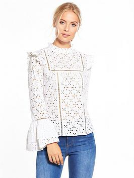 v-by-very-embroidered-fluted-sleeve-blouse