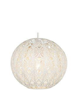 Very  Cream Metal Fretwork Globe Ne Shade