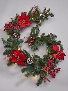 pre-lit-poinsettanbspchristmas-garland-red
