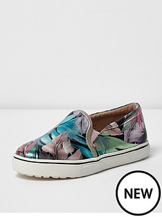 river-island-river-island-girls-plimsoll-metalic-tropical-print