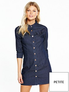 v-by-very-petite-frill-detail-denim-dress