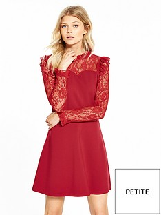 v-by-very-petite-long-sleeve-lace-yoke-ponte-dress