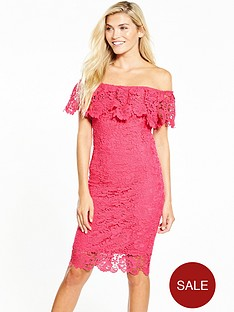 paper-dolls-bright-pink-lace-bardot-midi-dress