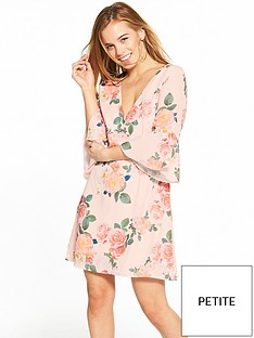 little-mistress-petite-nude-floral-v-neck-flute-sleeve-shift-dress
