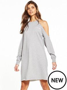 noisy-may-girl-boss-long-sleeve-cold-shoulder-dress-grey