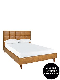 ideal-home-olson-faux-leather-double-bed-frame-with-mattress-option-buy-and-save