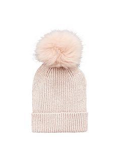v-by-very-lurex-thread-faux-fur-pom-pom-beanie-pink