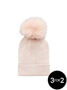 v-by-very-lurex-thread-faux-fur-pom-pom-beanie
