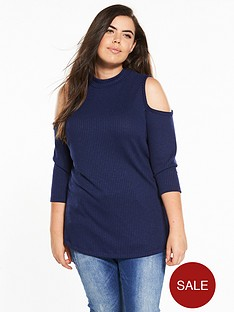 v-by-very-curve-cold-shoulder-key-hole-swing-ribbed-tunic-navy