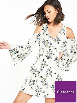 river-island-river-island-printed-fluted-long-sleeve-dress