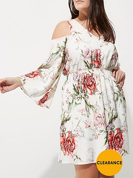 river-island-ri-plus-printed-cold-shoulder-dress