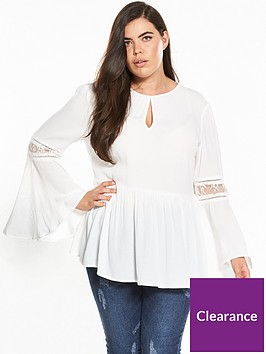 v-by-very-curve-lace-and-ladder-trim-flute-sleeve-blouse