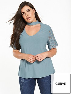 v-by-very-curve-lace-sleeve-choker-t-shirt-blue