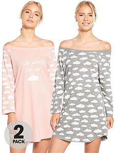 v-by-very-2-pack-i-sleep-on-a-cloud-print-nightdress-pinkgrey