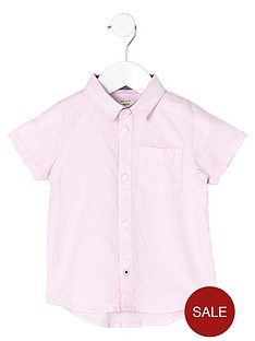 river-island-mini-boys-short-sleeve-pink-oxford-shirt
