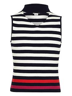 river-island-girls-navy-stripe-sleeveless-choker-jumper
