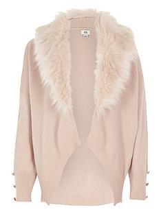 river-island-girls-pink-faux-fur-collar-cardigan