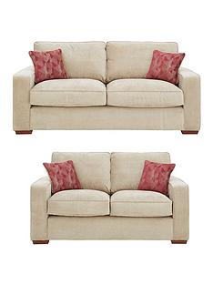 Aria 3 Seater 2 Standard Back Fabric Sofa Set And Save