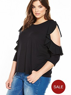 v-by-very-curve-ruffle-cold-shoulder-jersey-top-black
